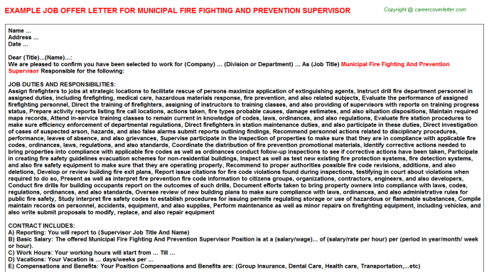 Municipal Fire Fighting And Prevention Supervisor Job Offer Letter Template