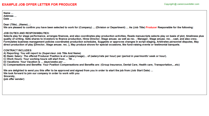 Producer Offer Letter Template