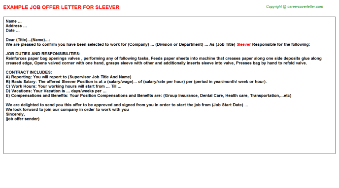 Sleever Offer Letter Template