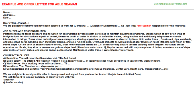 able seaman offer letter template