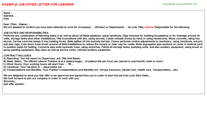 Laborer Offer Letter Template
