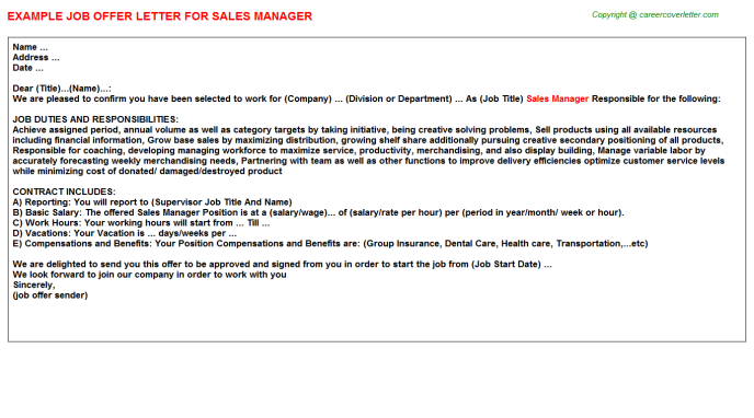 sales manager job offer letter