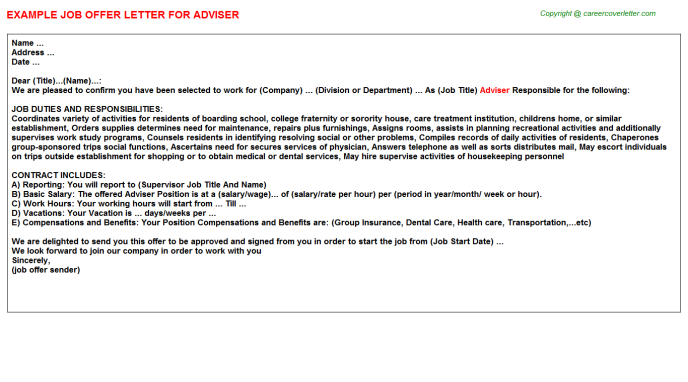 Adviser Job Offer Letter Template