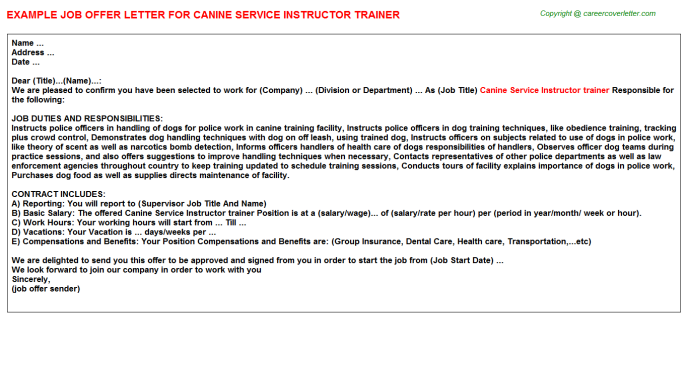 canine service instructor trainer offer letter template