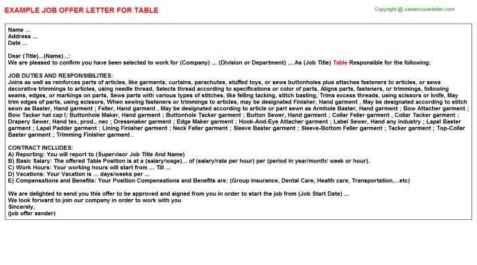 Table Job Offer Letter Template
