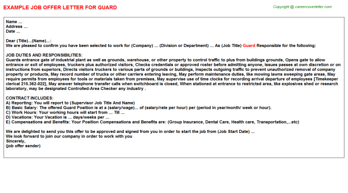 Guard Offer Letter Template