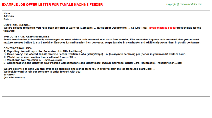 tamale machine feeder offer letter template