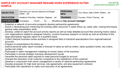 Key Account Manager Job Resume Template