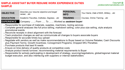 Assistant Buyer Job Resume Template