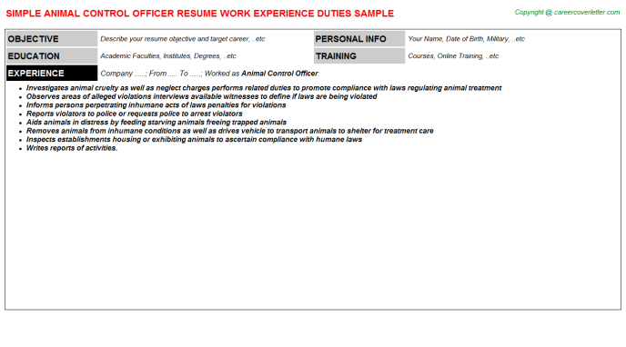 animal control officer resume template