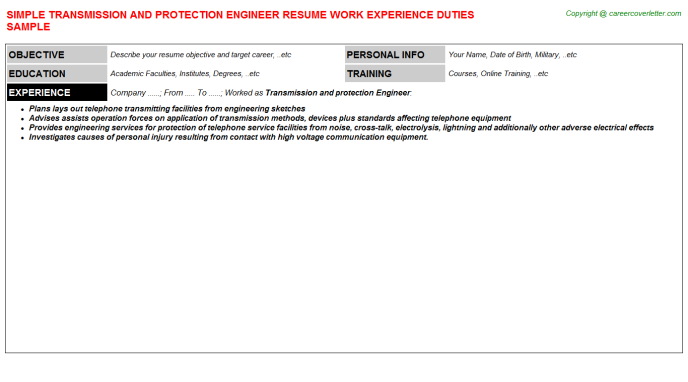 Transmission And Protection Engineer Resume Template