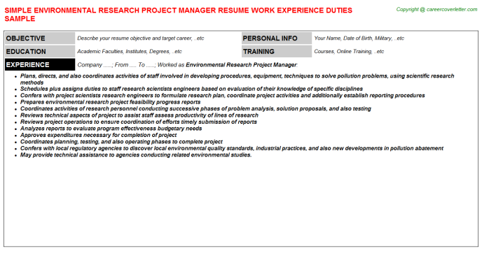 Environmental Research Project Manager Resume Template