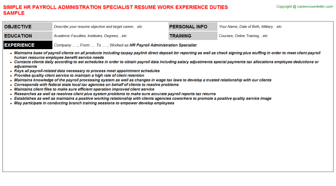 HR Payroll Administration Specialist Resume Template