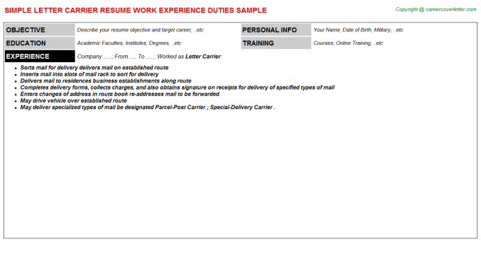 city carrier assistant 1 resume samples