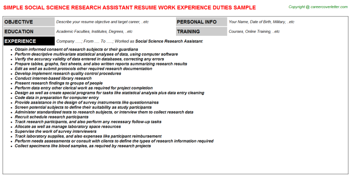 Social Science Research Assistant Resume Sample