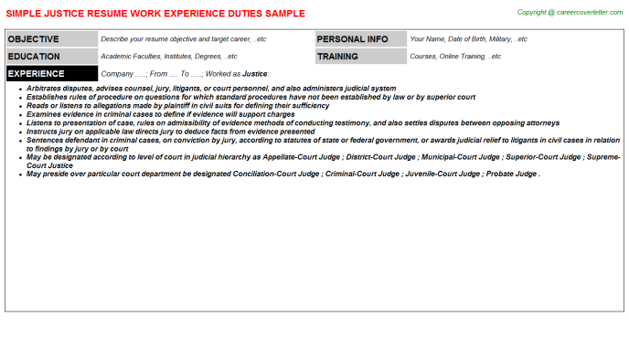 Justice Job Resume Template