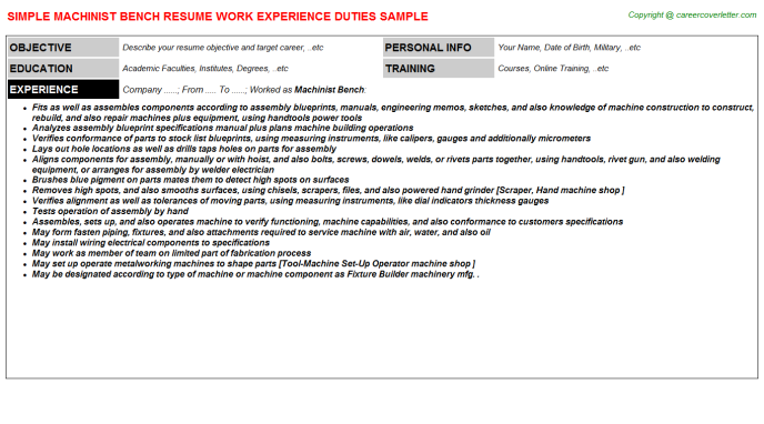 machinist bench resume template