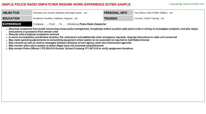 Police Radio Dispatcher Job Resume Template