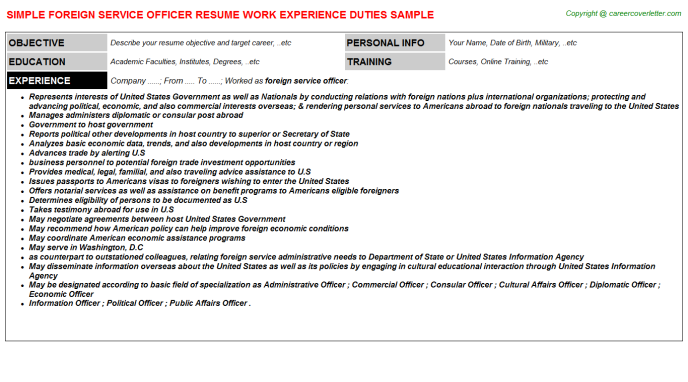 foreign service officer job resume sample