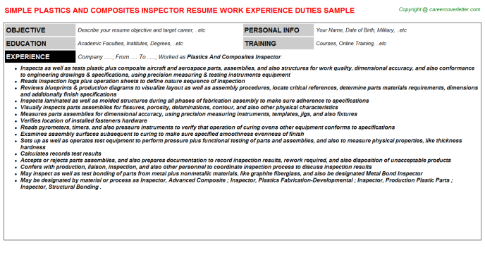 Plastics And Composites Inspector Job Resume Template