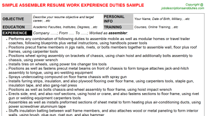 Assembler Job Resume Template