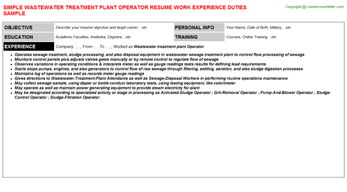 Wastewater Treatment Plant Operator Job Resume Sample