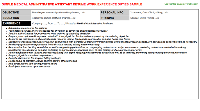 Medical Administrative Assistant Resume Sample Template