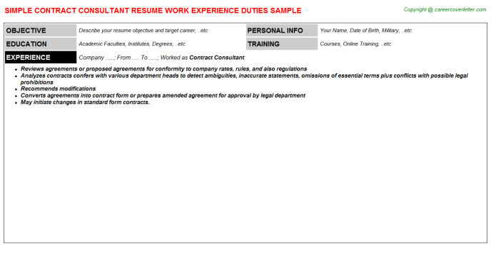 Contract Consultant Resume Template
