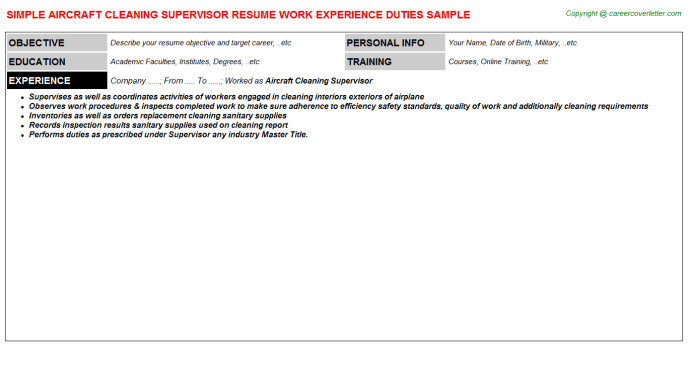 Aircraft Cleaning Supervisor Resume Template