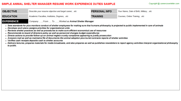animal shelter manager job resumes examples