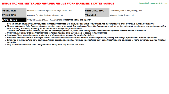 Machine Setter and repairer Resume Template