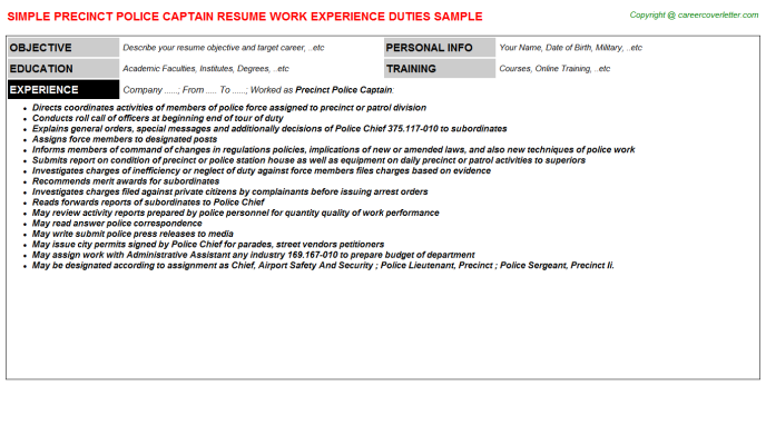 Precinct Police Captain Resume Template