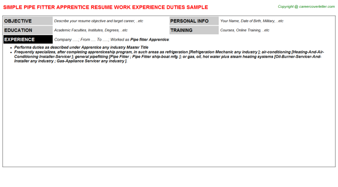 Pipe Fitter Job Templates