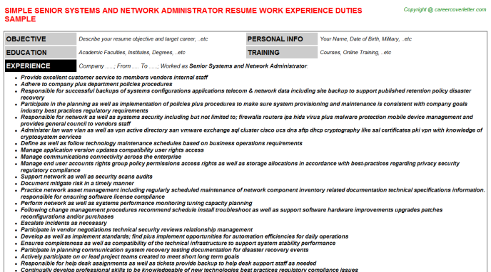 senior systems and network administrator resume template