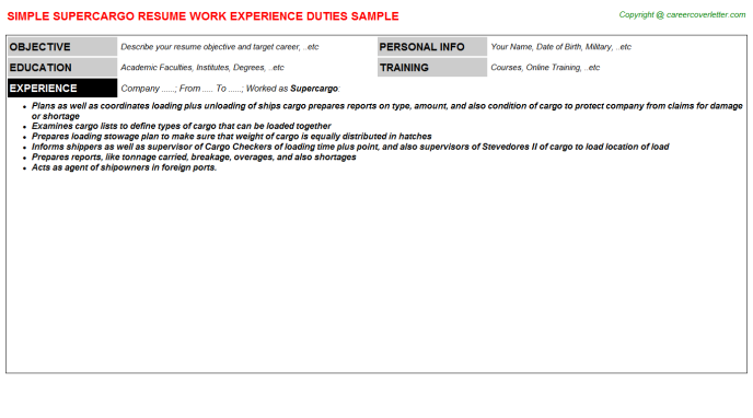 Supercargo Resume Sample Template