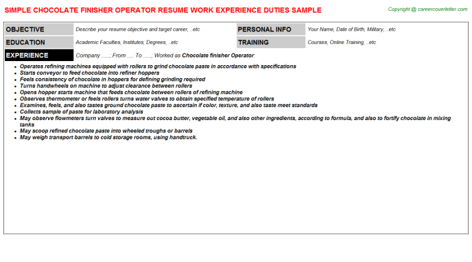 chocolate finisher operator resume template