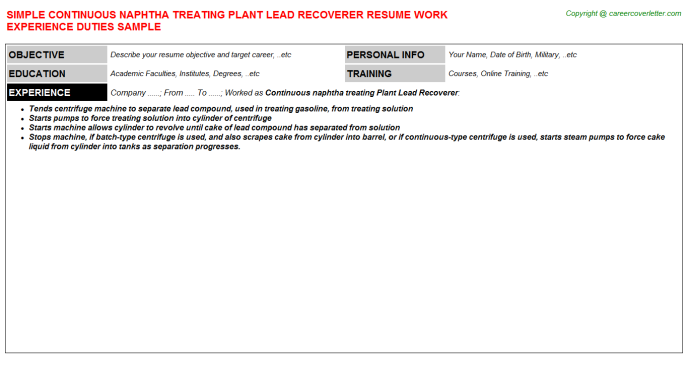 Continuous naphtha treating Plant Lead Recoverer Resume Template