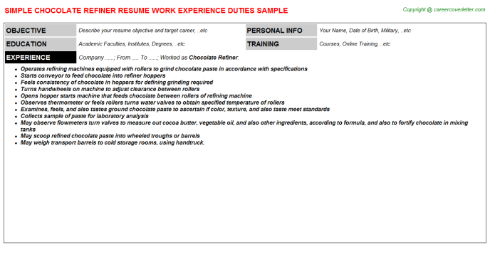 chocolate refiner resume template