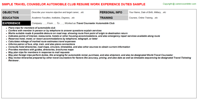 Travel Counselor Automobile Club Resume Template