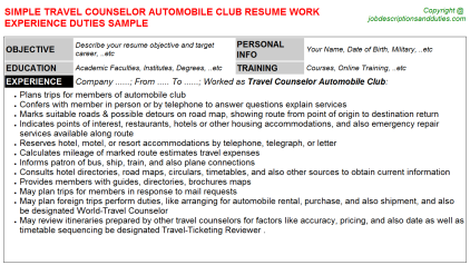 Travel Counselor Automobile Club Job Resume Template