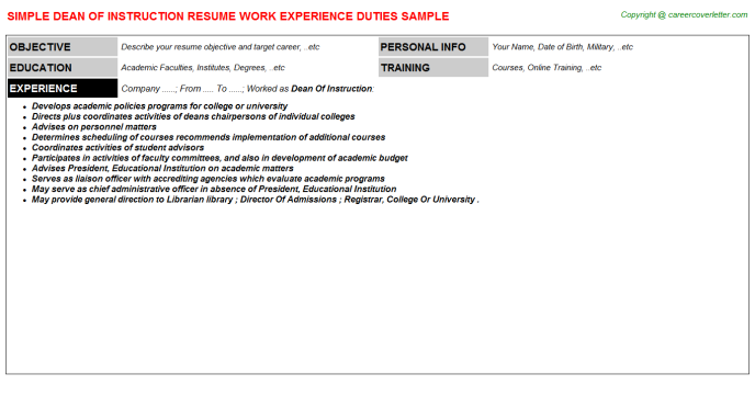 Dean Of Instruction Resume Template
