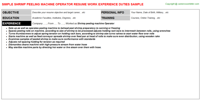 shrimp peeling machine operator resume template