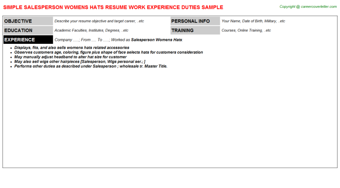 Salesperson Womens Hats Resume Template