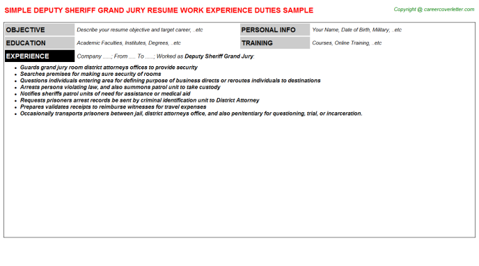 Deputy Sheriff Grand Jury Resume Sample Template