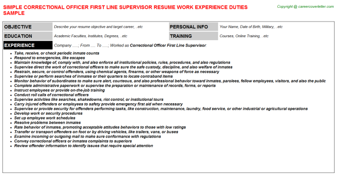 correctional officer first line supervisor resume sample