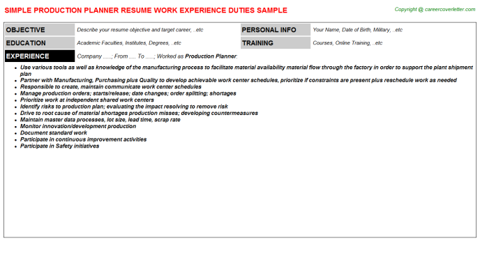 Production Planner Job Resume Template