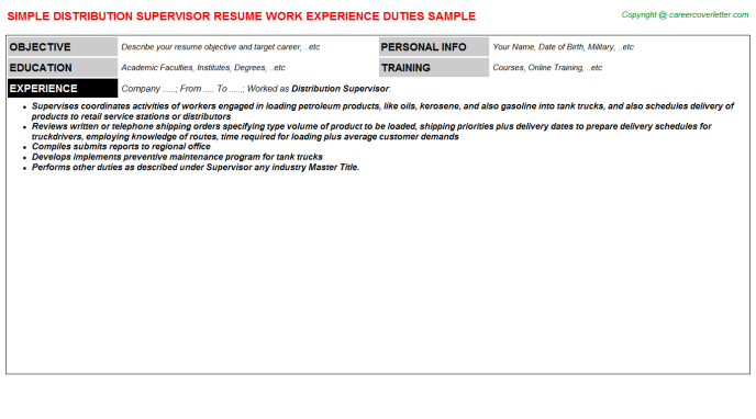 Distribution Supervisor Resume Template