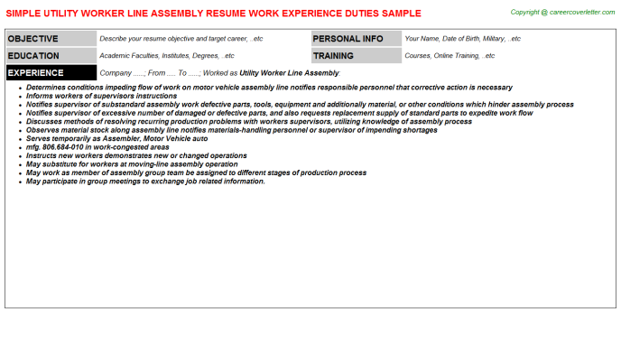 Utility Worker Line Assembly CV Resume Example