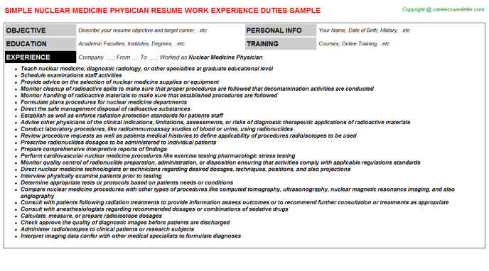 Nuclear Medicine Physician Job Resume Template