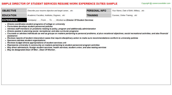 director of student services resume sample